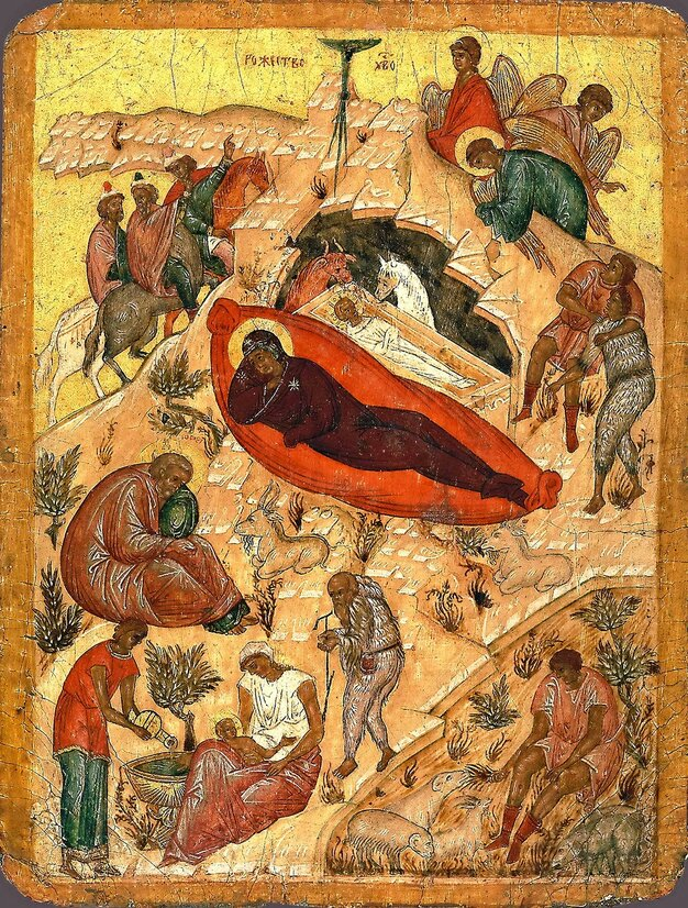 Рождество Христово. Новгород, 16 в. ЦАК МДА.jpg