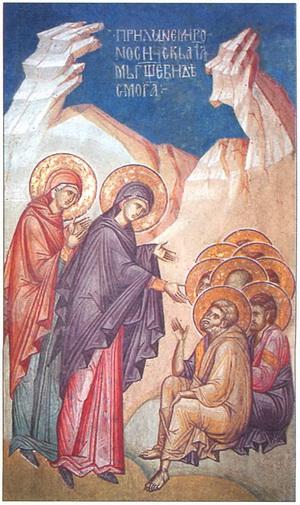 Жены-мироносицы благовествуют апостолам о Воскресении Христа.jpg