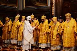В день памяти святителя Филарета Московского архиепископ Феогност принял участие в литургии в Храме Христа Спасителя