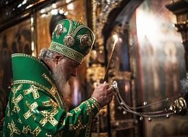 Святейший Патриарх Кирилл совершил всенощное бдение в Троицком соборе Лавры