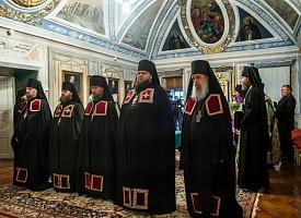 В Патриарших покоях Лавры прошел чин наречения трех архимандритов во епископов