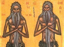 Преподобные Онуфрий Великий и Петр Афонский, пустынники