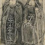М. В. Нестеров. Два схимника.<br>Карандаш, картон. Первая четверть XX в.
