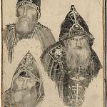 М. В. Нестеров. Три схимонаха.<br>Карандаш, бумага, картон. Первая четверть XX в.