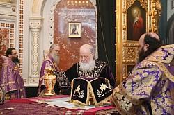 Епископ Парамон сослужил Святейшему Патриарху Кириллу за Божественной литургией в Великий Четверток